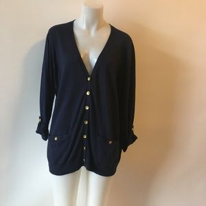 RALPH LAUREN V-NECK 3/4 SLEEVE CARDIGAN 1X *
